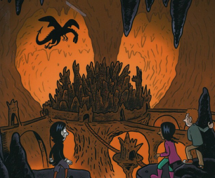 Grotte med drage og barn